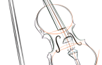 Как нарисовать скрипку и смычок по шагам