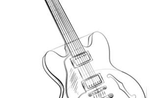 Как нарисовать электрогитару — пошаговая инструкция