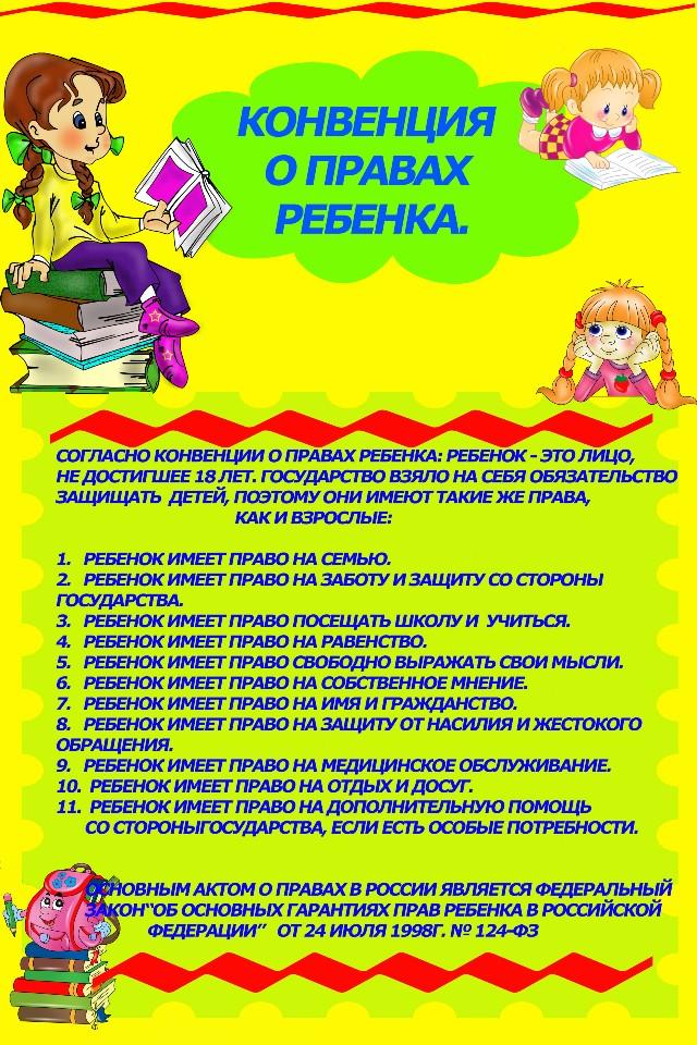Конвенция о правах ребенка в картинках для стенда