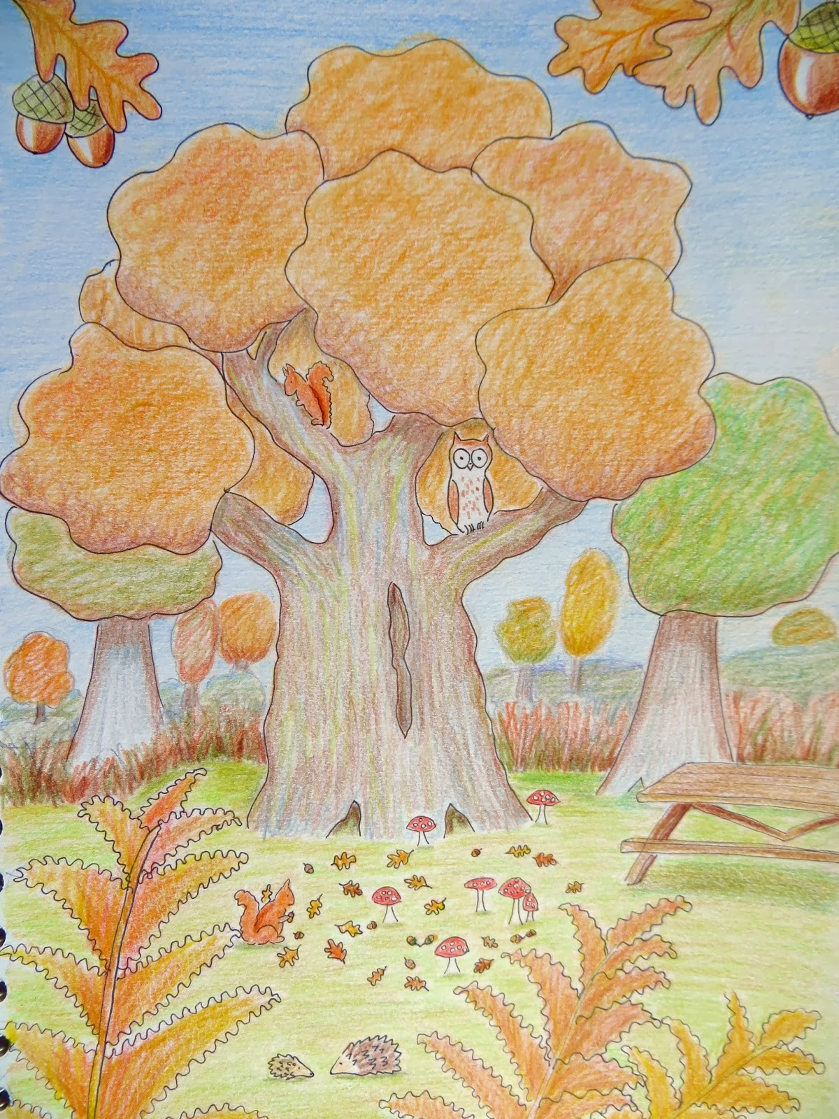 картинка на тему осень нарисовать карандашами черноморский курорт для