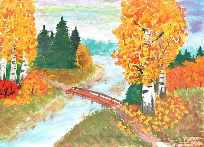 Осень золотая картинки карандашом